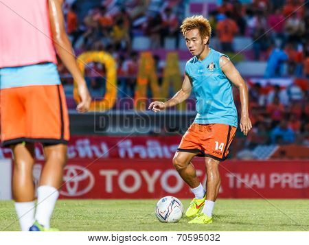 Sisaket Thailand-august 13: Nuttawut Khamrin Of Sisaket Fc. In Action During A Training Ahead Thai P