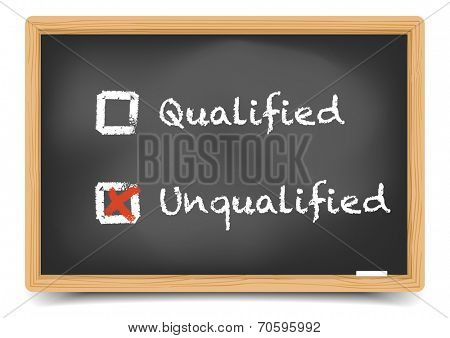detailed illustration of checkboxes with qualified and unqualified options on a blackboard, eps10 vector, gradient mesh included