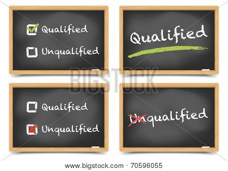 detailed illustration of blackboards with qualified and unqualified options, eps10 vector, gradient mesh included