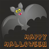 Happy Halloween vector party card with cute bat and hand drawn wishes poster