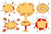 Illustration of a set of explosion, blast and other cartoon fire bomb, bang and exploding symbols poster