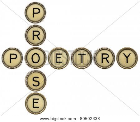 poetry and prose crossword in old round typewriter keys isolated on white