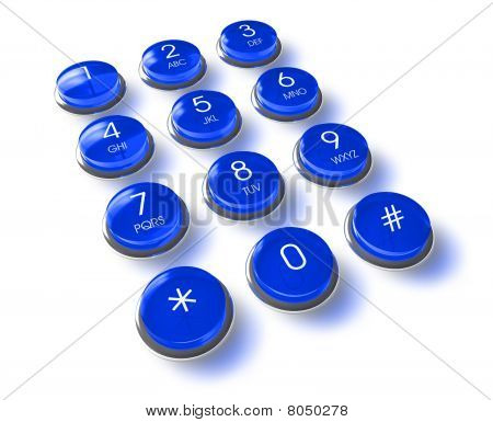 Communication concept: blue phone keyboard isolated over white background poster