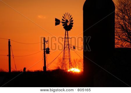 Windmill & Silo Sunset