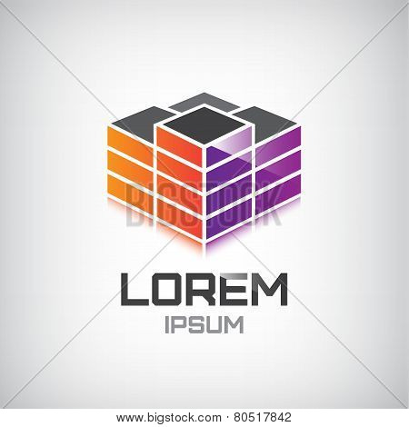 vector 3d building construction, apartment, offices logo, icon isolated poster