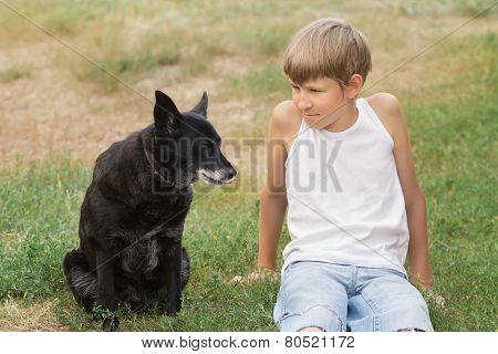Teenage boy and his animal friend