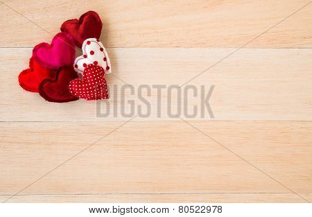 Red Valentine Hearts Symbol On Wood Background