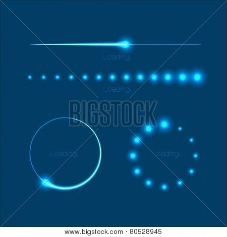 Modern glowing preloaders and progress bars