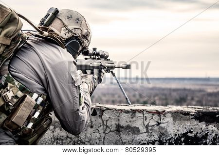 U.S. Army sniper during the military operation poster