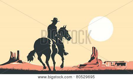 Horizontal Cartoon Illustration Of Cowboy In Prairie Wild West.