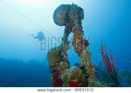Diver Descending Toward Shipwreck Scaffolding