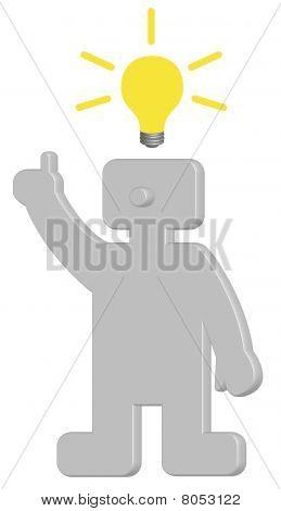 Human with idea-lightbulb