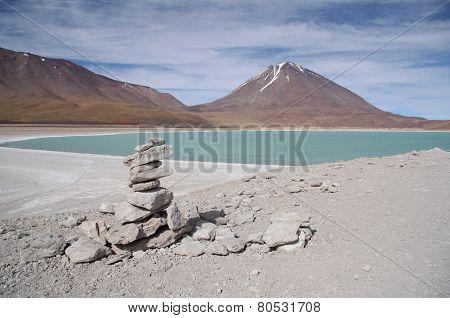 Laguna Verde and Volcano in Salar de Uyuni, Bolivia