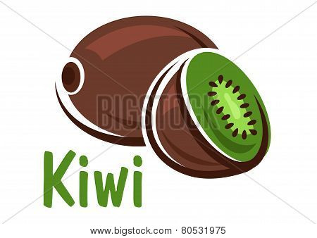 Kiwi fruit with green juicy slice