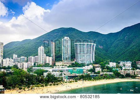 Hong Kong, China beachfront skyline at Repulse Bay.