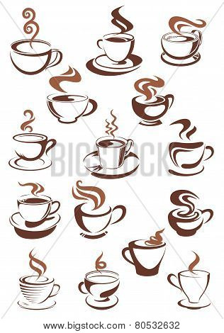 Brown cups of coffee, cappuccino, espresso, latte or chocolate