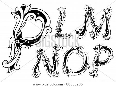Flowers alphabet with outline letters P, L, M, N, O