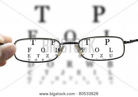 eye test through glasses horizontal