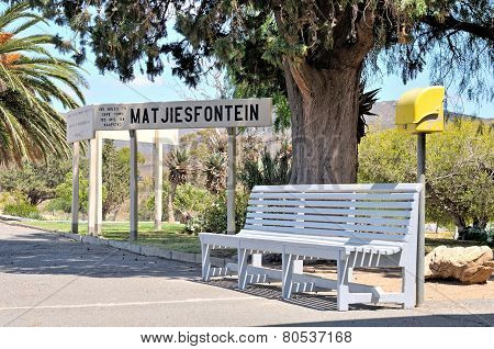 Bench And Sign At Matjiesfontein Station