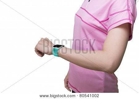 Woman Wearing Smartwatch With Blank Black Glass Bent Touchscreen