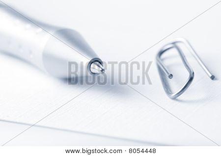 Pen And Fastener Closeup