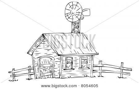 Boerderij met windmolen.