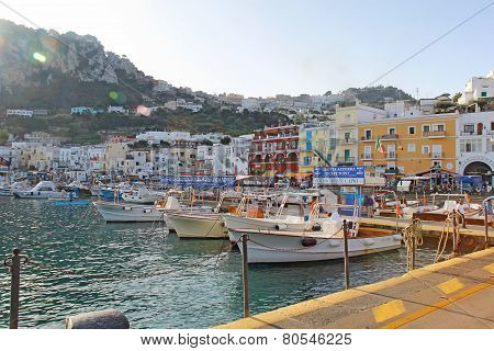 Tour Boat Booths, Signs And Buildings At Marina Grande, Capri, Italy
