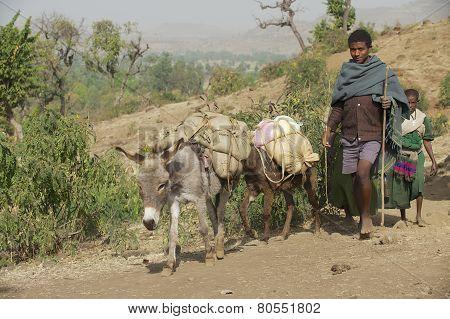 People walk barefoot by countryside path in Bahir Dar, Ethiopia.