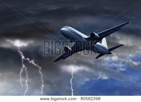 Passenger Air Plane Approaching Thunder Storm