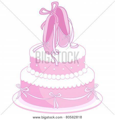 Ballet shoes birthday cake