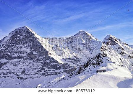 Tschuggen, Monch And Jungfrau Peaks In Winter