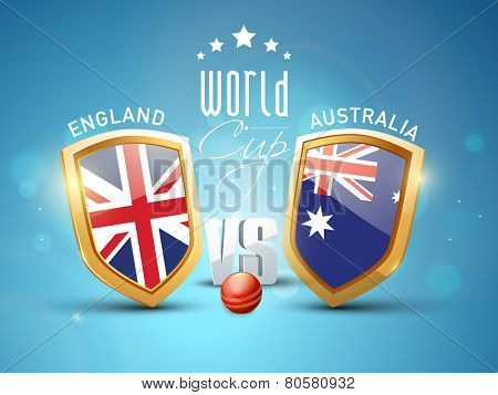 England Vs Australia, World Cup Cricket match concept with winning shield of their countries flags and red ball on shiny blue background.