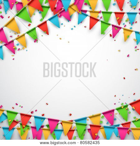 Celebrate background. Party flags with confetti. Vector illustration.  poster