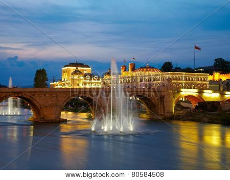 Macedonian's capital city Skopje. Old stone bridge poster