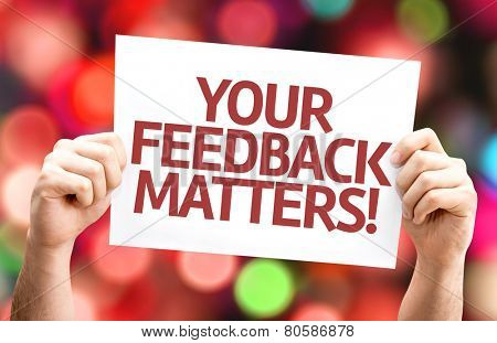 Your Feedback Matters card with colorful background with defocused lights