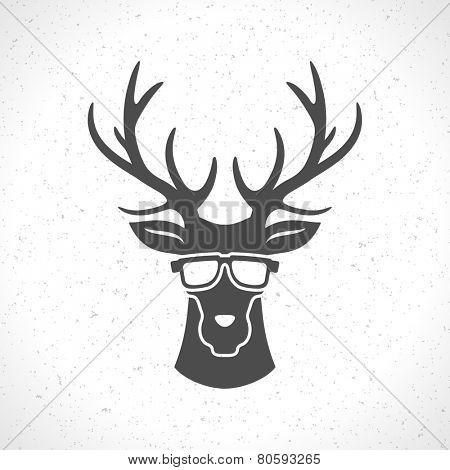 Deer head silhouette isolated on white background vintage vector design element illustration