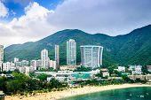 Hong Kong, China beachfront skyline at Repulse Bay. poster