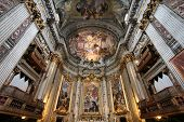 Rome Italy - famous Ignazio Loyola church. Baroque interior. poster