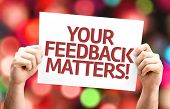 Your Feedback Matters card with colorful background with defocused lights poster