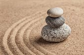 Japanese Zen stone garden - relaxation, meditation, simplicity and balance concept  - pebbles and raked sand tranquil calm scene poster