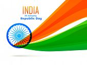 vector indian flag design made in wave style in tricolor poster