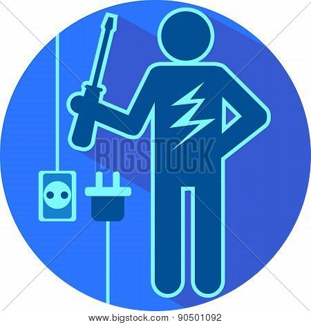 Electric Blue The Stick Figure Of A Man Electrician Flat Symbolic Round Icon Vector