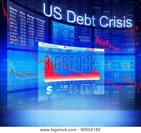 US Debt Crisis Economic Stock Market Banking Concept poster