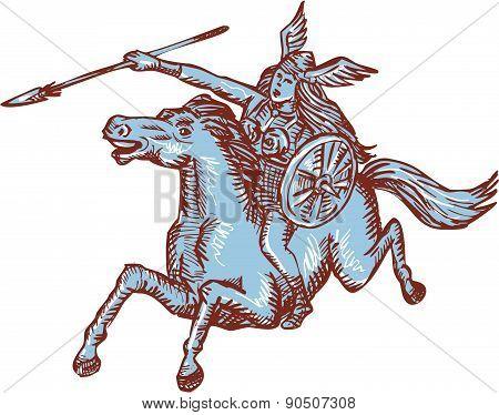 Valkyrie Warrior Riding Horse Spear Etching
