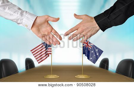 United States and Australia diplomats agreeing on a deal