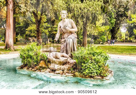 Classical Fountain In Villa Borghese Park, Rome