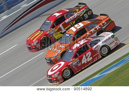 Talladega, AL - May 03, 2015:  Jamie McMurray (1), Carl Edwards (19), and Kyle Larson (42) battles for position during the GEICO 500 race at the Talladega Superspeedway in Talladega, AL.