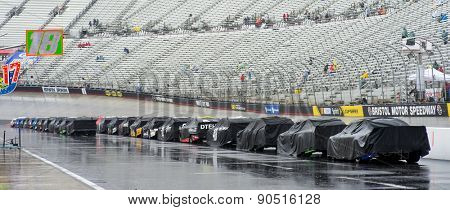Bristol, TN - Apr 19, 2015:  The NASCAR Sprint Cup Series teams wait for the rain to end for the Food City 500 at Bristol Motor Speedway in Bristol, TN.
