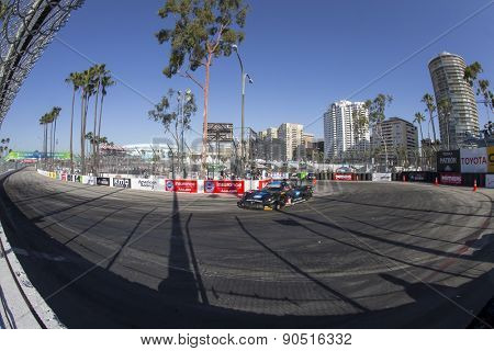 Long Beach, CA - Apr 17, 2015:  The Wayne Taylor Racing Corvette DP, Chevrolet, Corvette, Prototype races through the turns Toyota Grand Prix of Long Beach at Long Beach Grand Prix in Long Beach, CA.