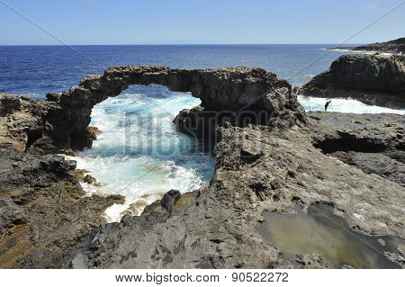 Natural Stone Arch in El Hierro. Canary Islands